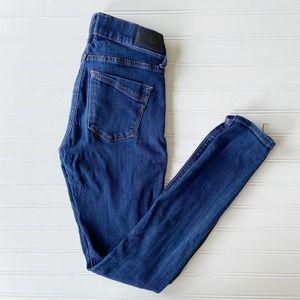Express 0 Regular Dark Wash Skinny Mid Rise Stretch Denim Jeans Jegging